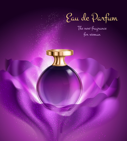 Perfume in glass vial with golden lid for woman advertising composition on purple background vector illustration Stock Vector - 112542139