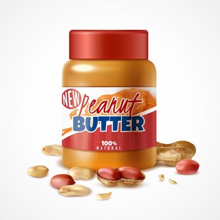 Vaso realistico di composizione di burro di arachidi con confezione di lattine di marca e noci di arachidi mature con illustrazione vettoriale di ombre