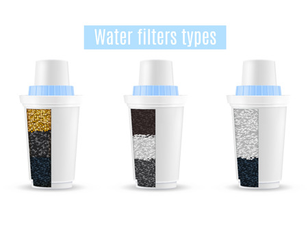 Water filters realistic set of 3 purification units types cutaway models with activated carbon granules vector illustration