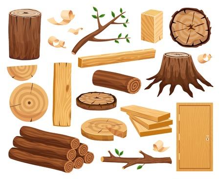 Set piatto di campioni di materie prime e di produzione per l'industria del legno con illustrazione vettoriale di porte di tronchi di tronchi d'albero Vettoriali