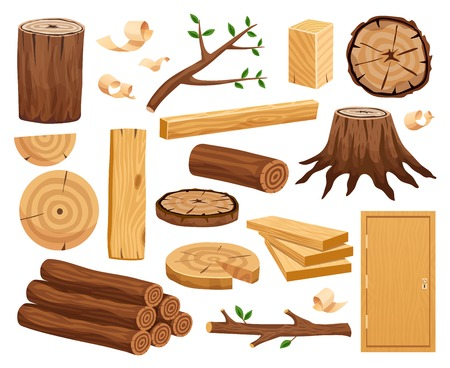 Wood industry raw material and production samples flat set with tree trunk logs planks door vector illustration