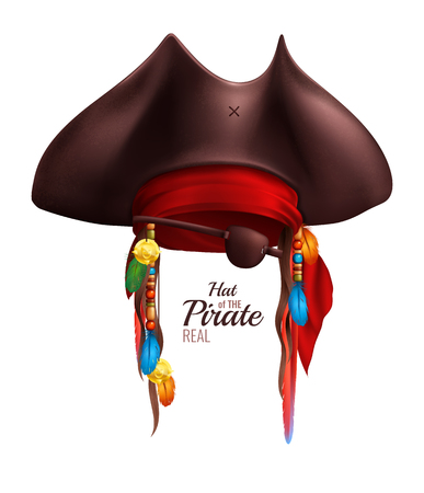 Realistic pirate hat decorated by red bandanna and indian accessories in realistic style isolated vector illustration Illustration