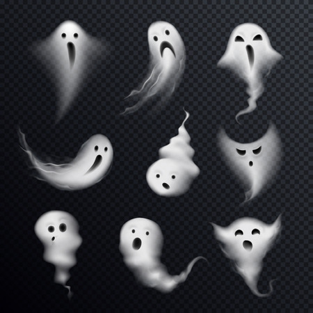 Scary ghost emotions icons set with realistic funny steamy smoke formed spooks dark transparent background vector illustration