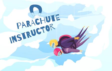 Fallschirmspringen Praxis mit professionellem Instruktor flaches abstraktes Werbeplakat mit Tandemfallschirmsprungwolken Hintergrundvektorillustration
