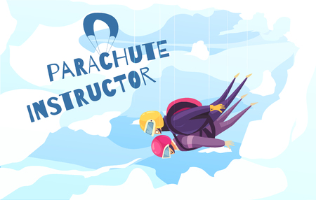 Skydiving practice with professional instructor flat abstract advertising poster with tandem parachute jump clouds background vector illustration Ilustrace