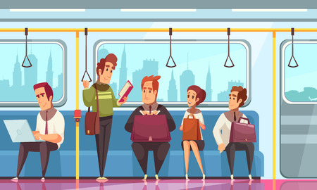People reading books in underground background with transport symbols flat vector illustration