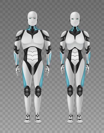 Robot android realistic 3d composition with transparent background and full length images of humanlike droids vector illustration