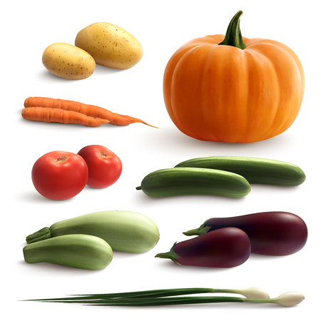 Vegetables realistic set with pumpkin cucumber and carrot isolated vector illustration