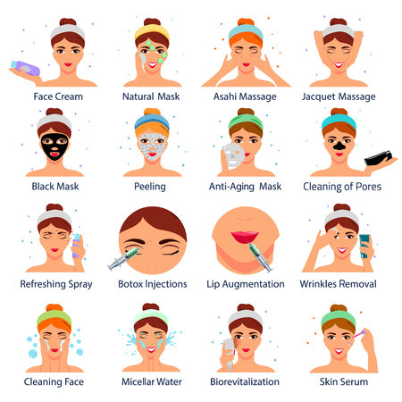 Beauty salon set of flat icons with female faces during cosmetic procedures isolated vector illustration