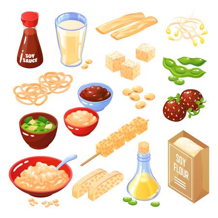 Productos de soja iconos aislados conjunto de queso albóndigas harina de fideos salsa de aceite de leche ilustración vectorial