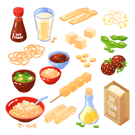 Soya products isolated icons set of cheese meatballs noodle flour milk oil sauce vector illustration