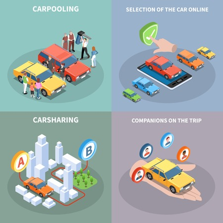 Carsharing concept icons set with car selection symbols isometric isolated vector illustration Illustration