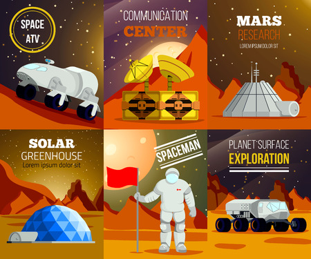 Set of flat cards of planet colonization with spaceman research of mars exploration equipment isolated vector illustration
