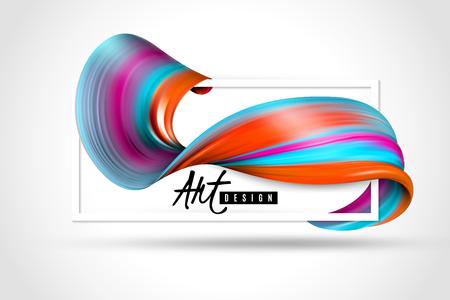 Bright paint brush stroke and white rectangular frame art design horizontal poster on light background vector illustration
