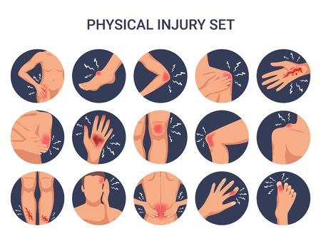 Conjunto plano redondo de lesiones físicas del cuerpo humano con heridas de corte de quemadura de dedo de rodilla de hombro aislado ilustración vectorial
