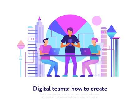 Digital teams design with modern technologies symbols flat vector illustration