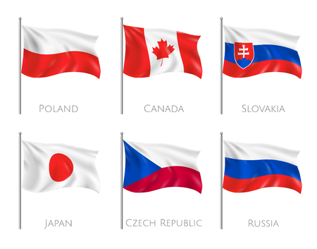 Official flags set with Poland and Canada flags realistic isolated vector illustration