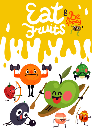 Cartoon funny fruits with emotions during sport activity poster on yellow white background vector illustration Vettoriali
