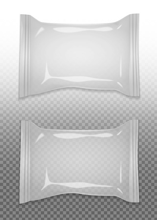 Realistic blank package set for preserving goods isolated vector illustration