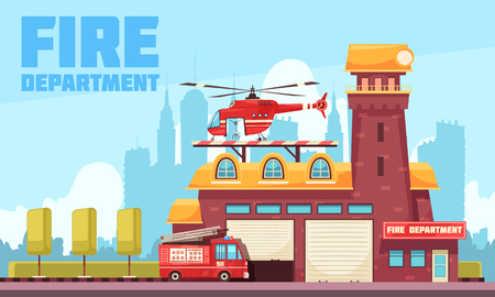 Firefighter composition with text and outdoor urban landscape with fire station building and fire appliance vehicles vector illustration