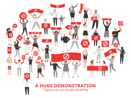 Crowd of protesting people with prohibiting sign on red placards during huge demonstration white background vector illustration
