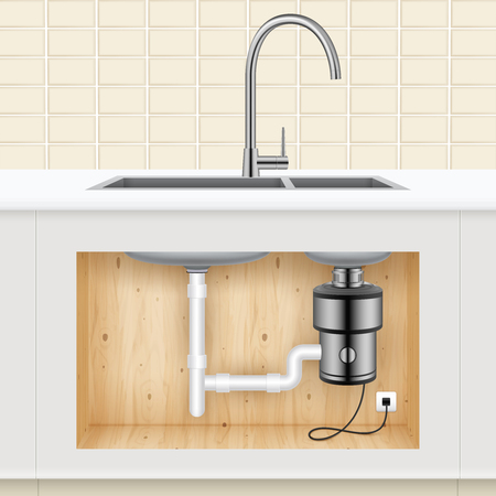 Kitchen sink with food waste disposer connected to electric socket realistic vector illustration