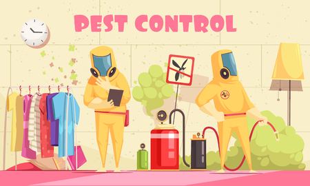 Pest control illustration with human characters of disinfectors in chemical suits performing disinfection procedures at home vector illustration