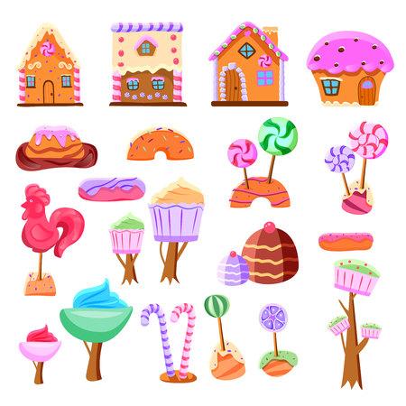 Ensemble de terre de bonbons de conte de fées d'éléments d'interface de jeu d'icônes plates de divers bonbons isolés illustration vectorielle