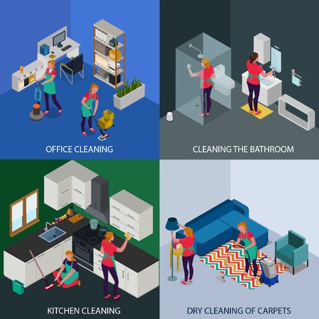 Professional tidying up of office and apartment dry cleaning of carpets isometric design concept isolated vector illustration Illustration
