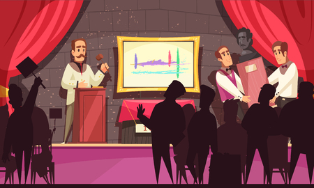 Auction composition with view of stage with red curtains and people during trade of rare collectors items vector illustration Ilustração