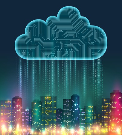 Cloud storage realistic composition with digital elements and bright lights on the city vector illustration