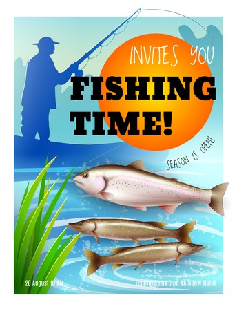Opening of fishing season poster fisher during catching of trout and pike on boat realistic vector illustration