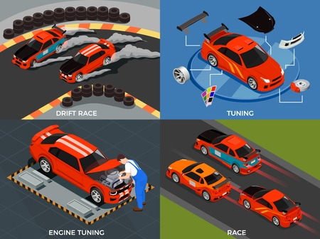 Car tuning 2x2 design concept set of engine and body modifications for drift race isometric vector illustration