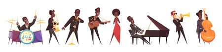 Jazz musicians set of isolated cartoon style human characters of people playing various musical instruments vector illustration Illustration