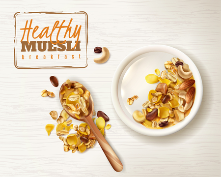 Realistic bowl muesli superfood healthy breakfast with delicious granola cereals editable text plate and spoon images vector illustration