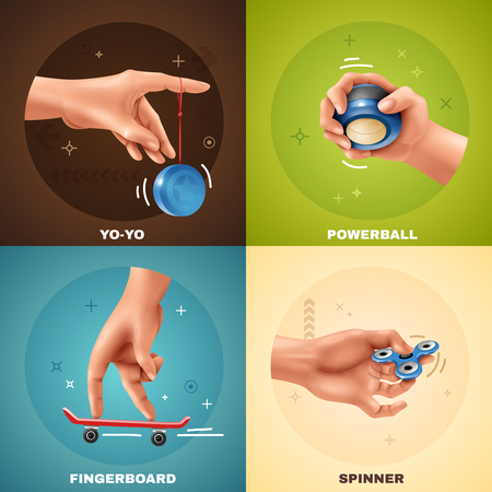 Hand games realistic design concept with yoyo fingerboard powerball and spinner isolated on colorful background vector illustration