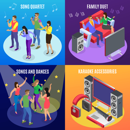 Karaoke isometric 2x2 design concept with icons of stars spotlights and images of people at ktv party vector illustration