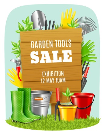 Advertising poster exhibition sale of garden tools on light background realistic vector illustration