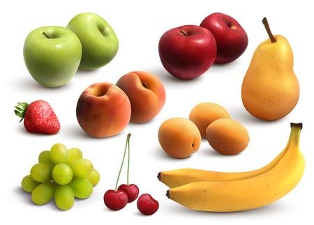 Früchte realistisches Set mit grünen und roten Äpfeln Bananen Birnen Weintraube Pfirsich Aprikose isolierte Vektorillustration