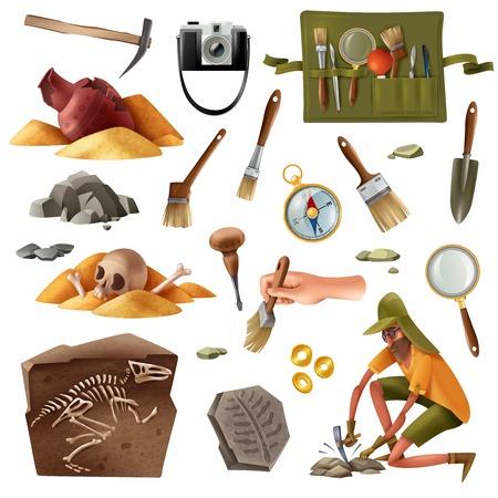 Ensemble d'archéologie d'images d'éléments isolés d'artefacts d'excavation d'équipement de creusement avec illustration vectorielle de caractère humain de style doodle Vecteurs