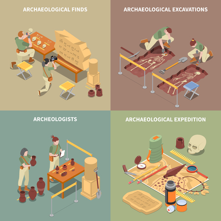 Archeology isometric concept icons set with excavations and finds symbols isolated vector illustration Illustration