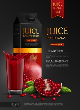 Natural pomegranate juice advertising realistic composition black background poster with package seeds and full glass vector illustration Vectores