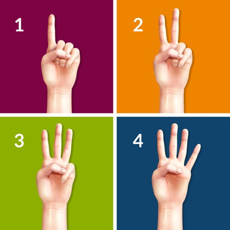 Counting hands from one to four 2x2 design concept set of square colored icons realistic vector illustration