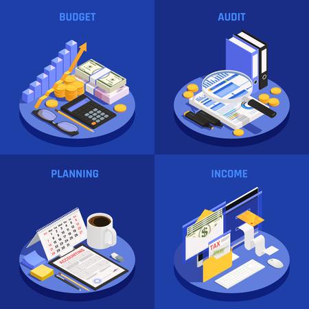 Concept de conception isométrique comptable avec planification budgétaire et d'audit et illustration vectorielle de revenu fond bleu isolé