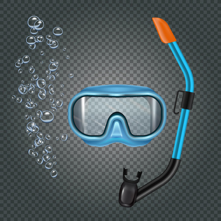 Snorkeling set with diving mash and breathing tube on dark transparent background with bubbles realistic vector illustration Illustration