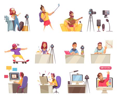 Blogger vlogger photo vidéo blog ensemble d'icônes de style doodle isolés avec des personnages humains et des pictogrammes illustration vectorielle