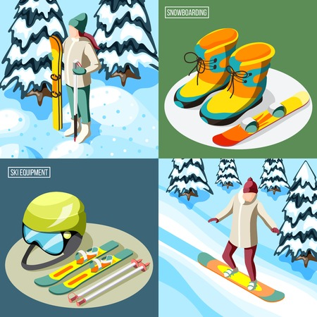 Ski resort isometric design concept skier with sports equipment and snowboarder on slope isolated vector illustration