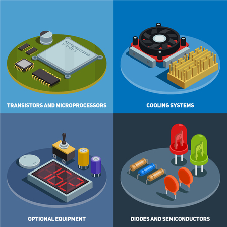 Semiconductor 2x2 design concept set of transistors microprocessors diodes and cooling systems square compositions isometric vector illustration Illustration