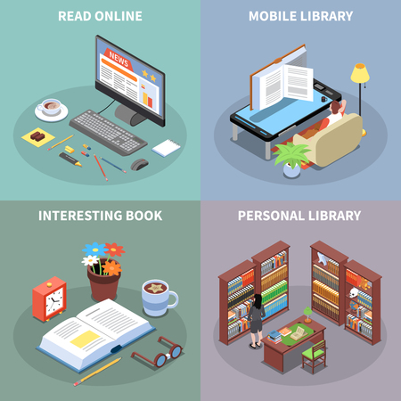 Reading and library concept icons set with mobile library symbols isometric isolated vector illustration Illustration