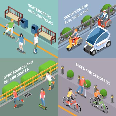 Icônes de concept de transport écologique sertie d'illustration vectorielle isolée isométrique de vélo et de scooter
